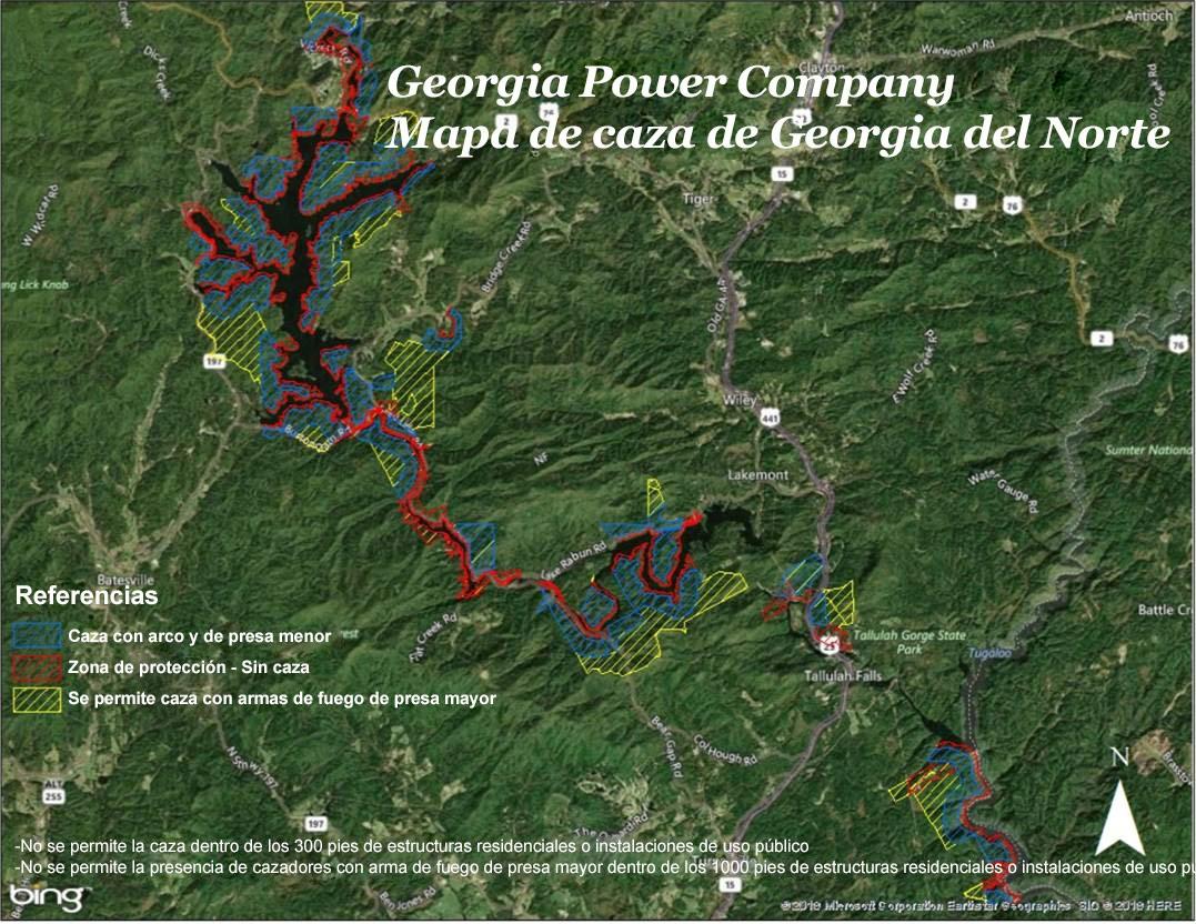 Georgia Power CompanyMapa de caza de Georgia del Norte